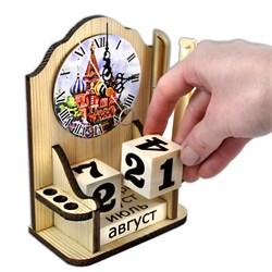 """Вечный календарь """"Московское время"""" с часами и карандашницей - фото 15241"""
