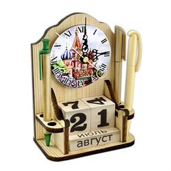 """Вечный календарь """"Московское время"""" с часами и карандашницей - фото 15242"""