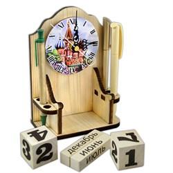 """Вечный календарь """"Московское время"""" с часами и карандашницей - фото 15243"""