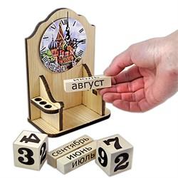 """Вечный календарь """"Московское время"""" с часами и карандашницей - фото 15244"""