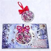 """Подарочная открытка """"Зимние забавы"""" + елочная игрушка из дерева"""