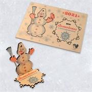 """Подарочная открытка """"Весёлый снеговик"""" + подставка или елочная игрушка из дерева"""